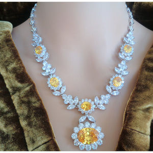CITRINE 18K WHITE GOLD F FLAWLESS LADY'S NECKLACE